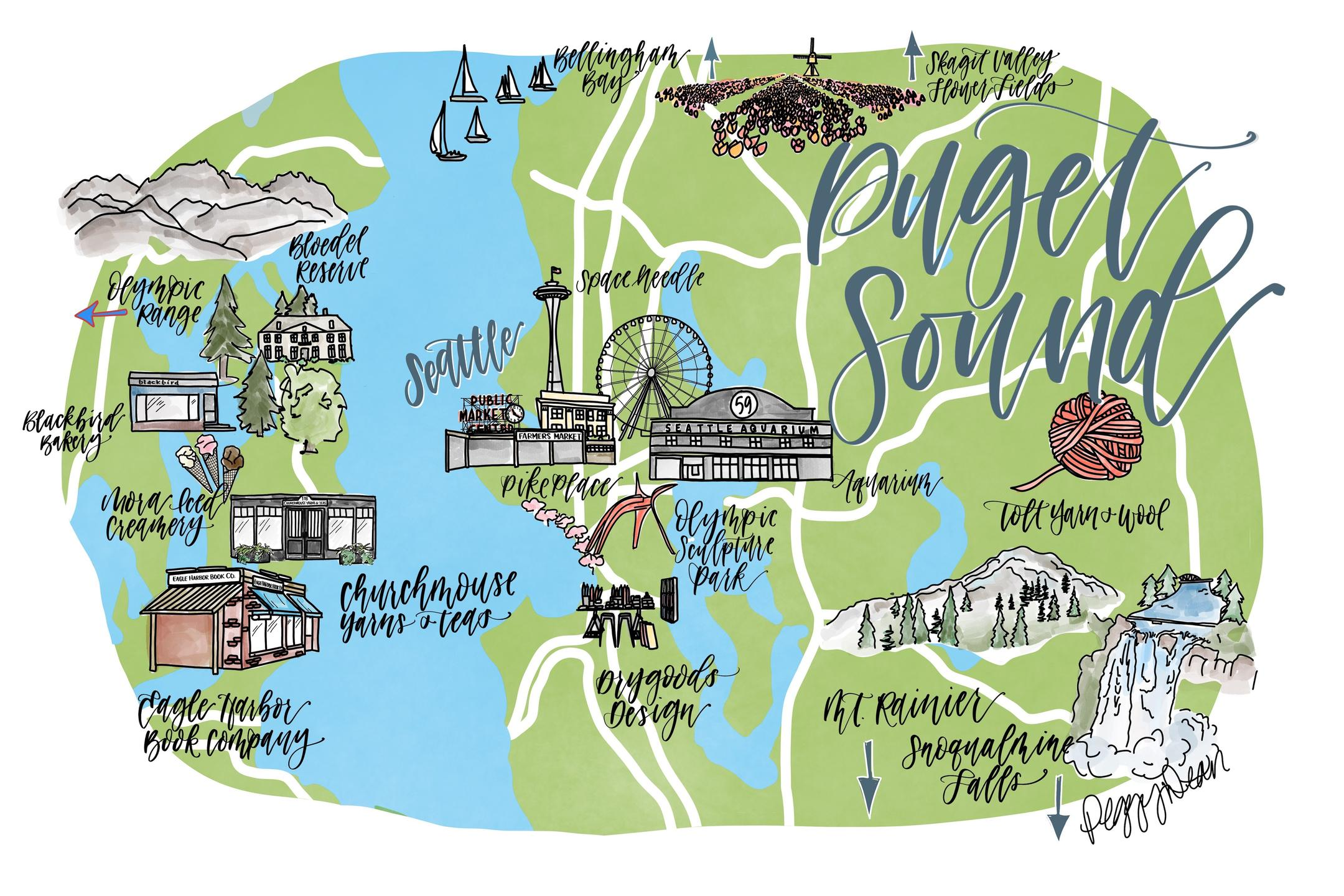 puget sound illustrated map