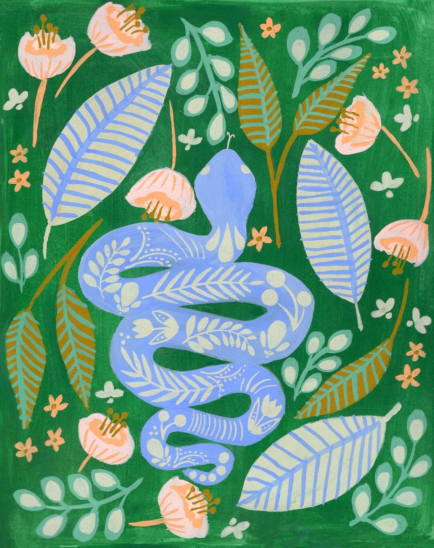 snake folk art illustration