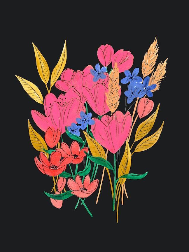 moody flower drawing