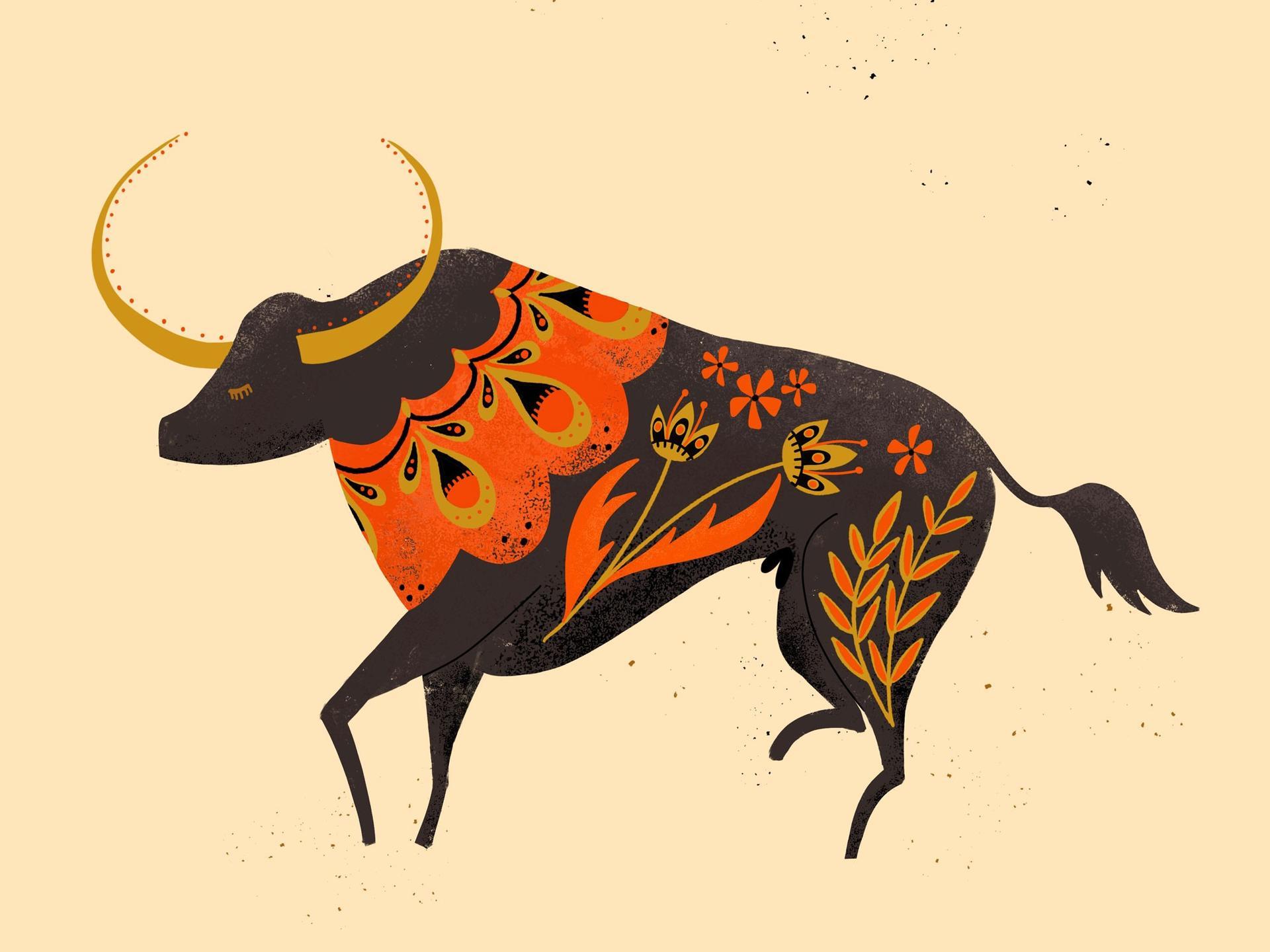 bull folk art
