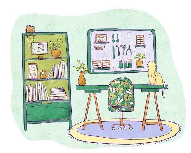 office cat illustration