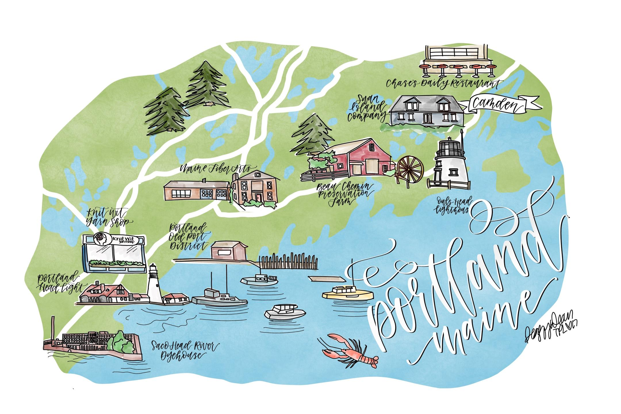 portland maine map art