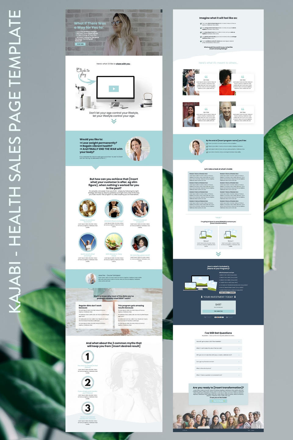 Kajabi Sales Page Template for Health Industry