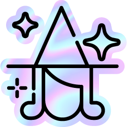 Holographic foil witch head with magic stars