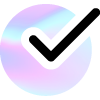 Holographic foil circle with black checkmark