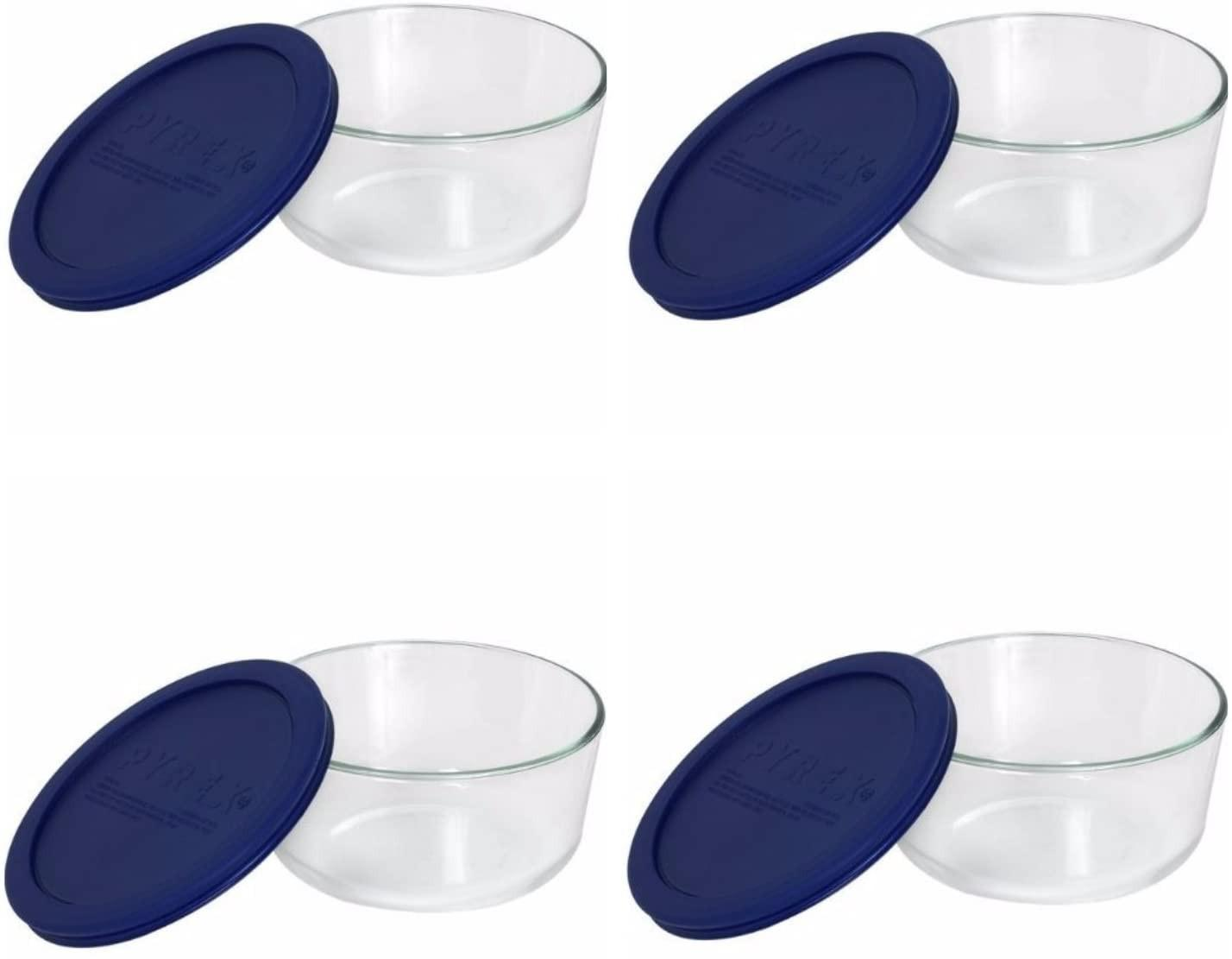 blue 7-cup Pyrex containers and lids