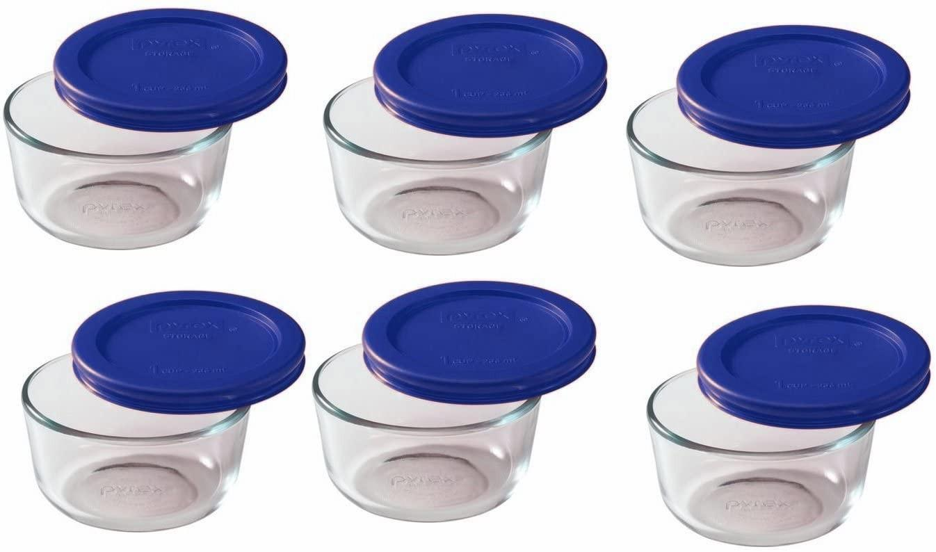 blue 1-cup Pyrex containers and lids