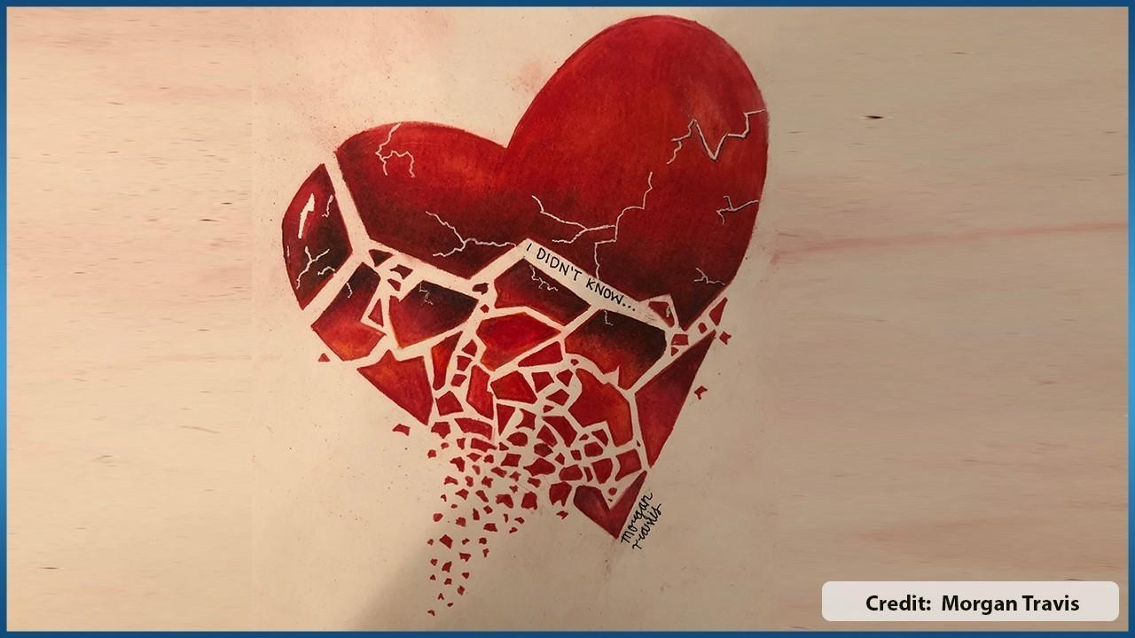 Drawing of a broken heart by Morgan Travis