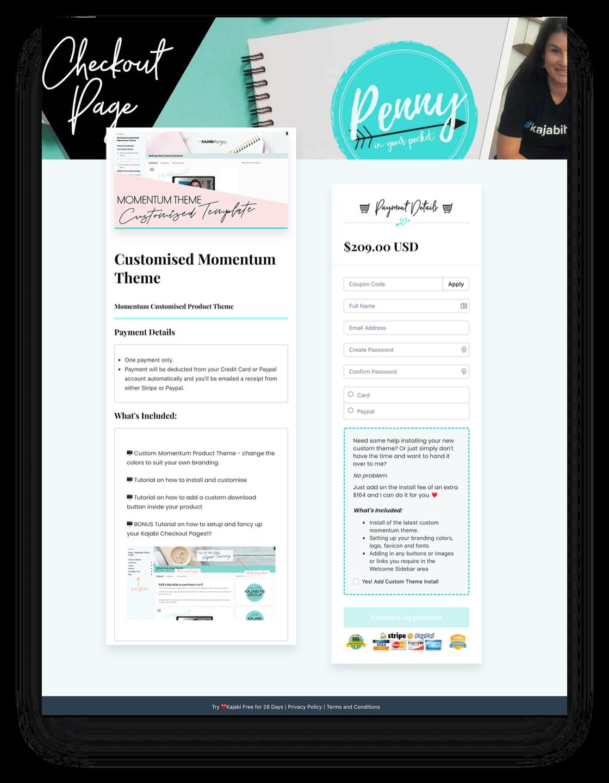 kajabi checkout page template
