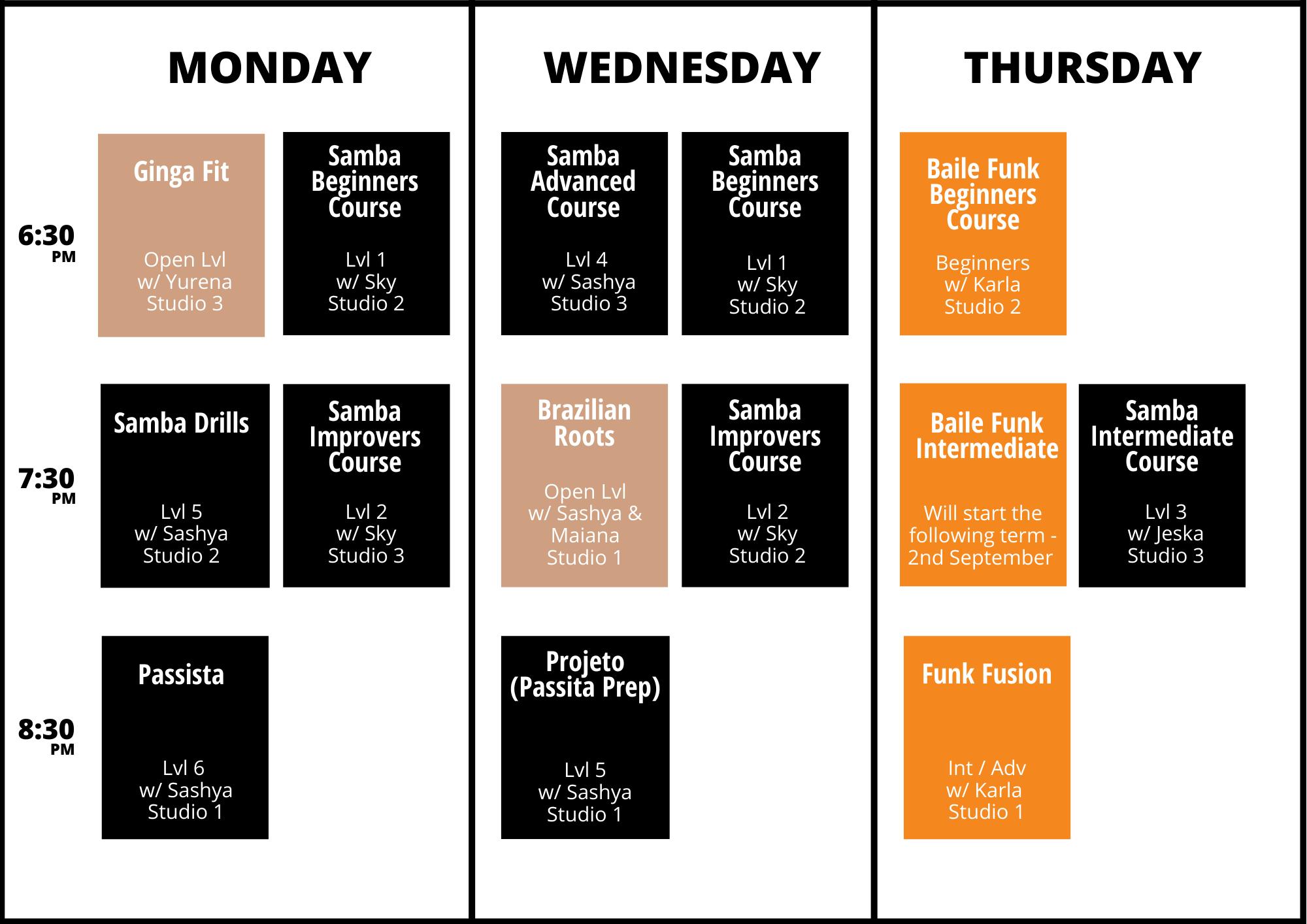 sydney dance timetable