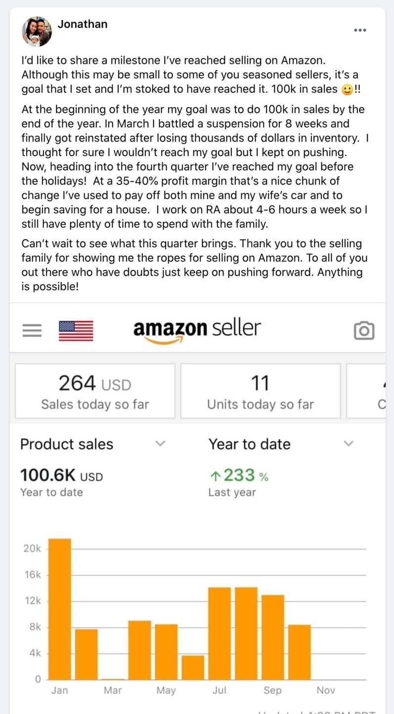 Jonathan hits 100k in sales in 2020