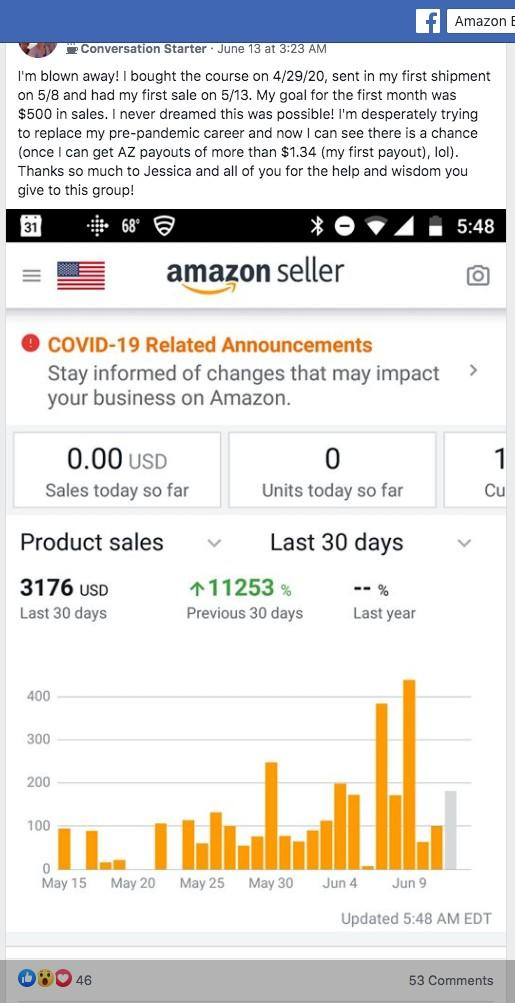 Amazon Boot Camp testimonial $3,000 in sales in 1 month