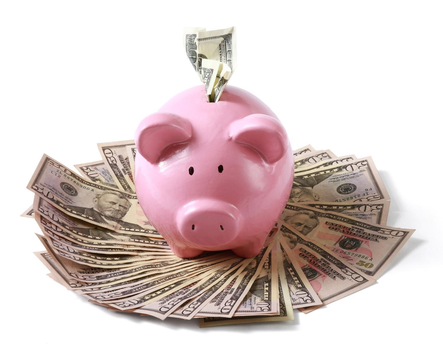 Piggy Bank overflowing with Money