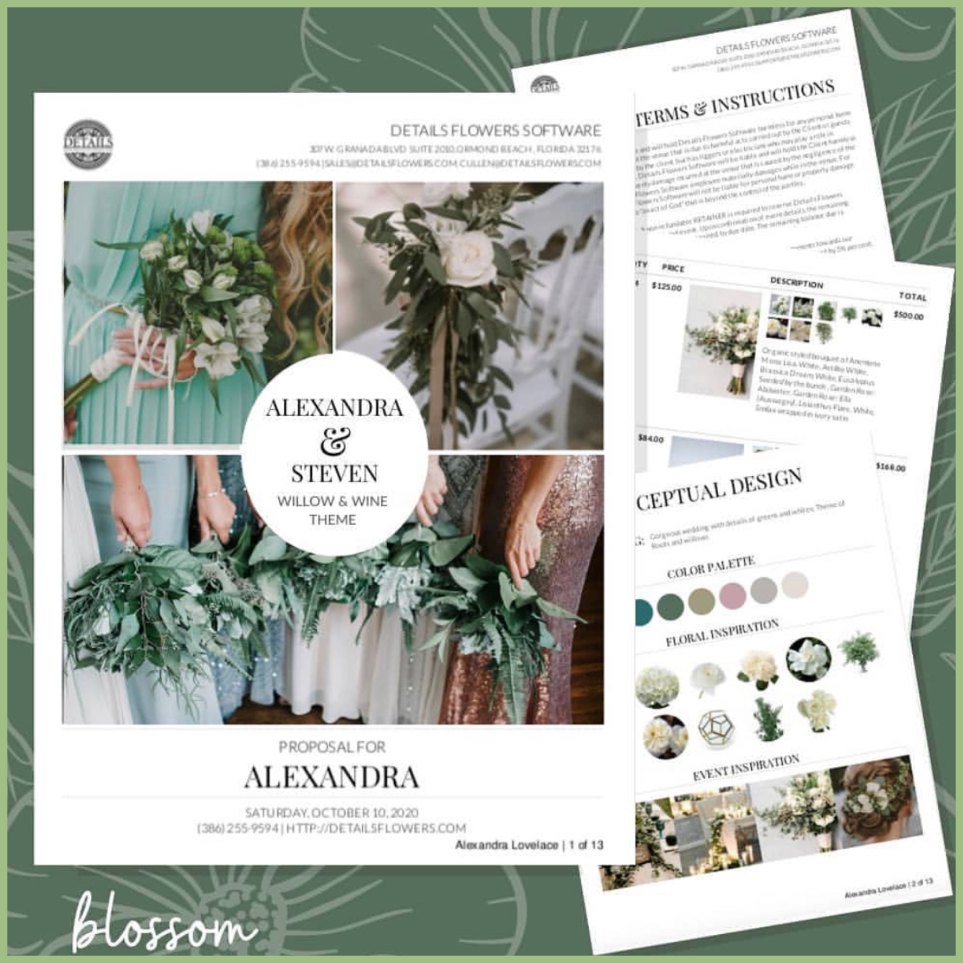 details flower software wedding contract