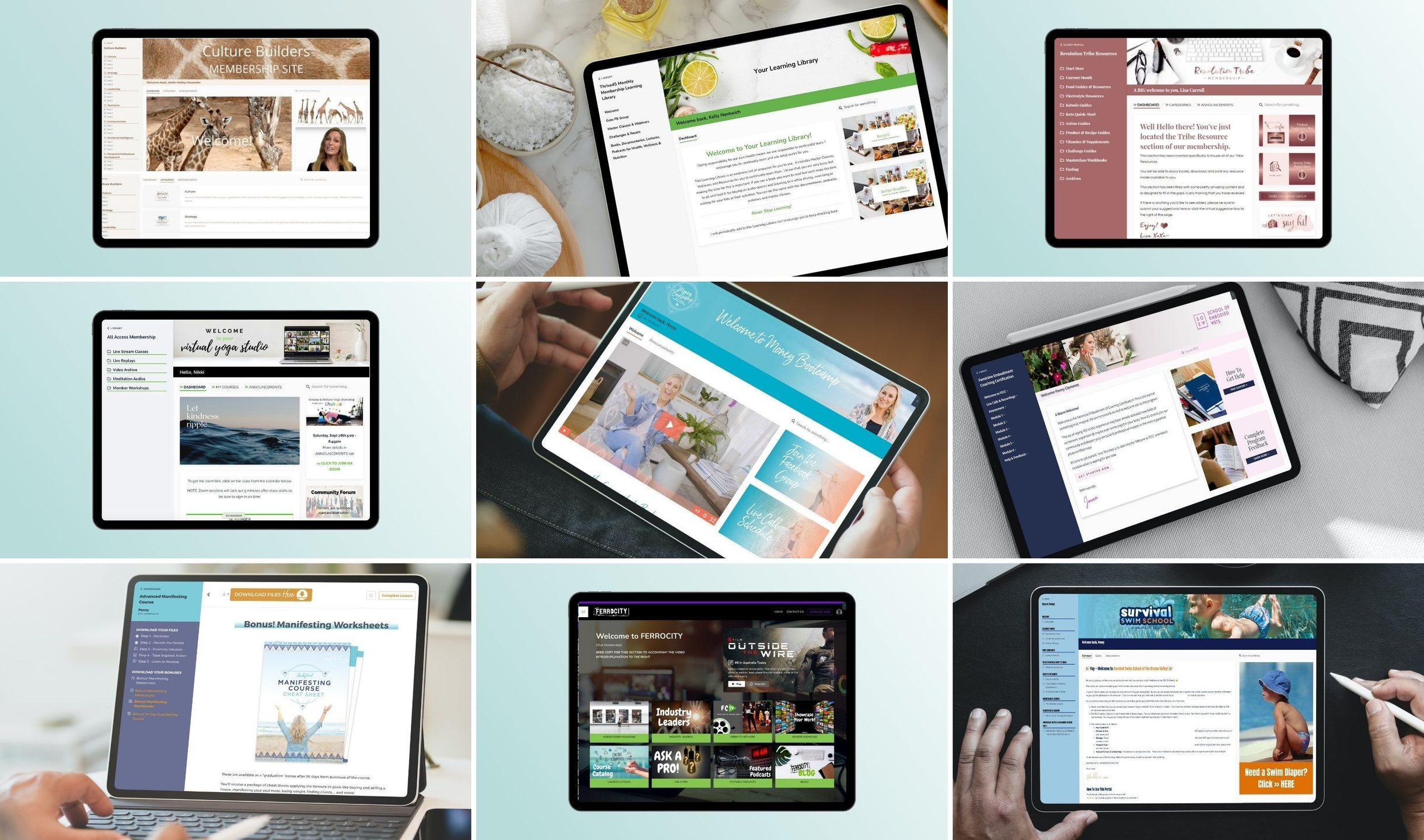 tablet and laptop mockup views of Kajabi Product Themes and Templates