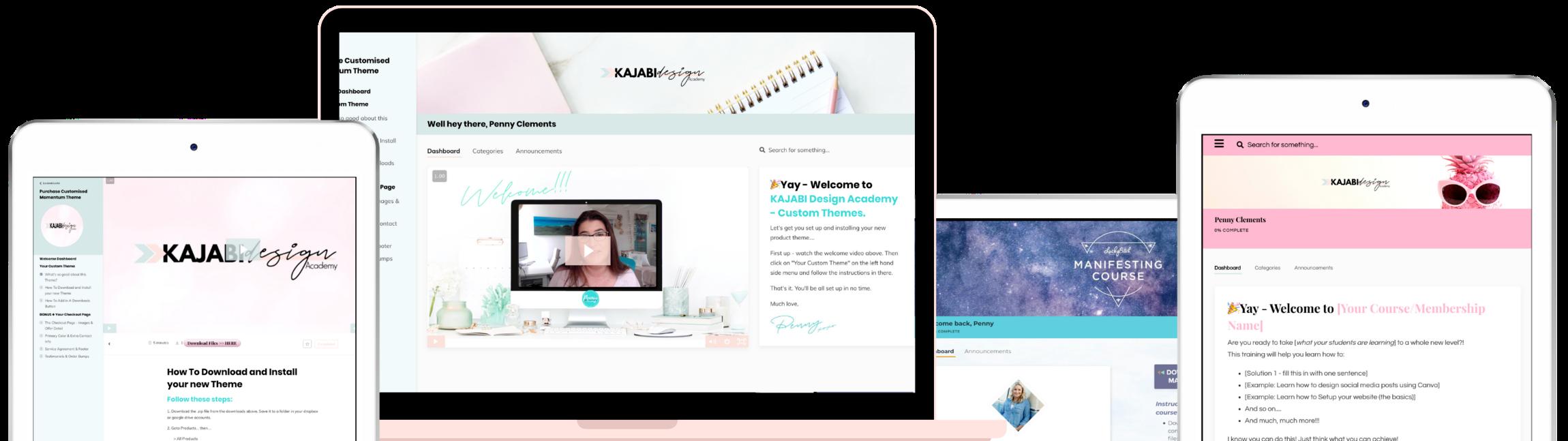 Kajabi Product Themes and Templates Mockup of examples