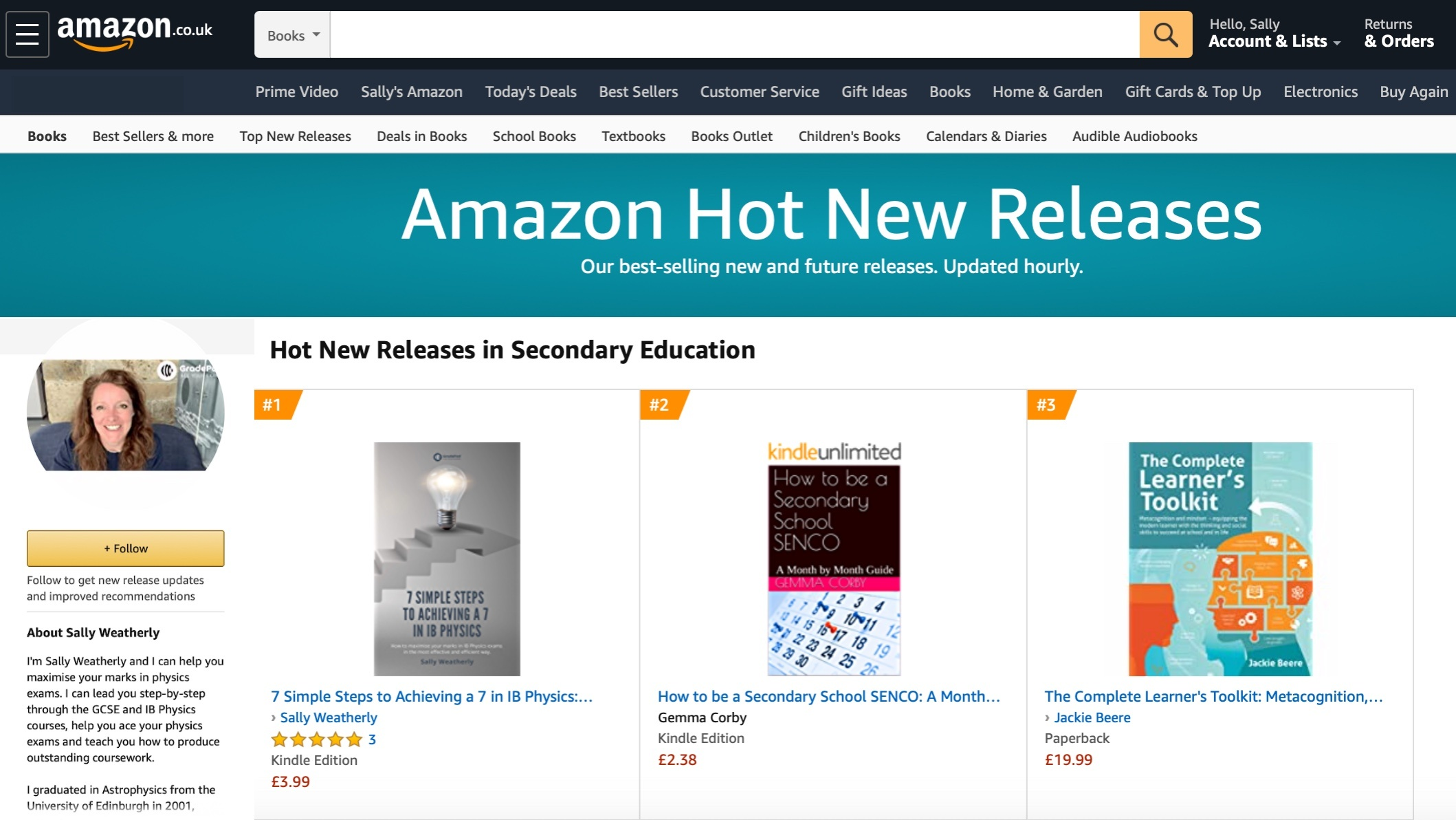 Sally Weatherly 7 Simple Steps Study Guide on Amazon screenshot of how new release