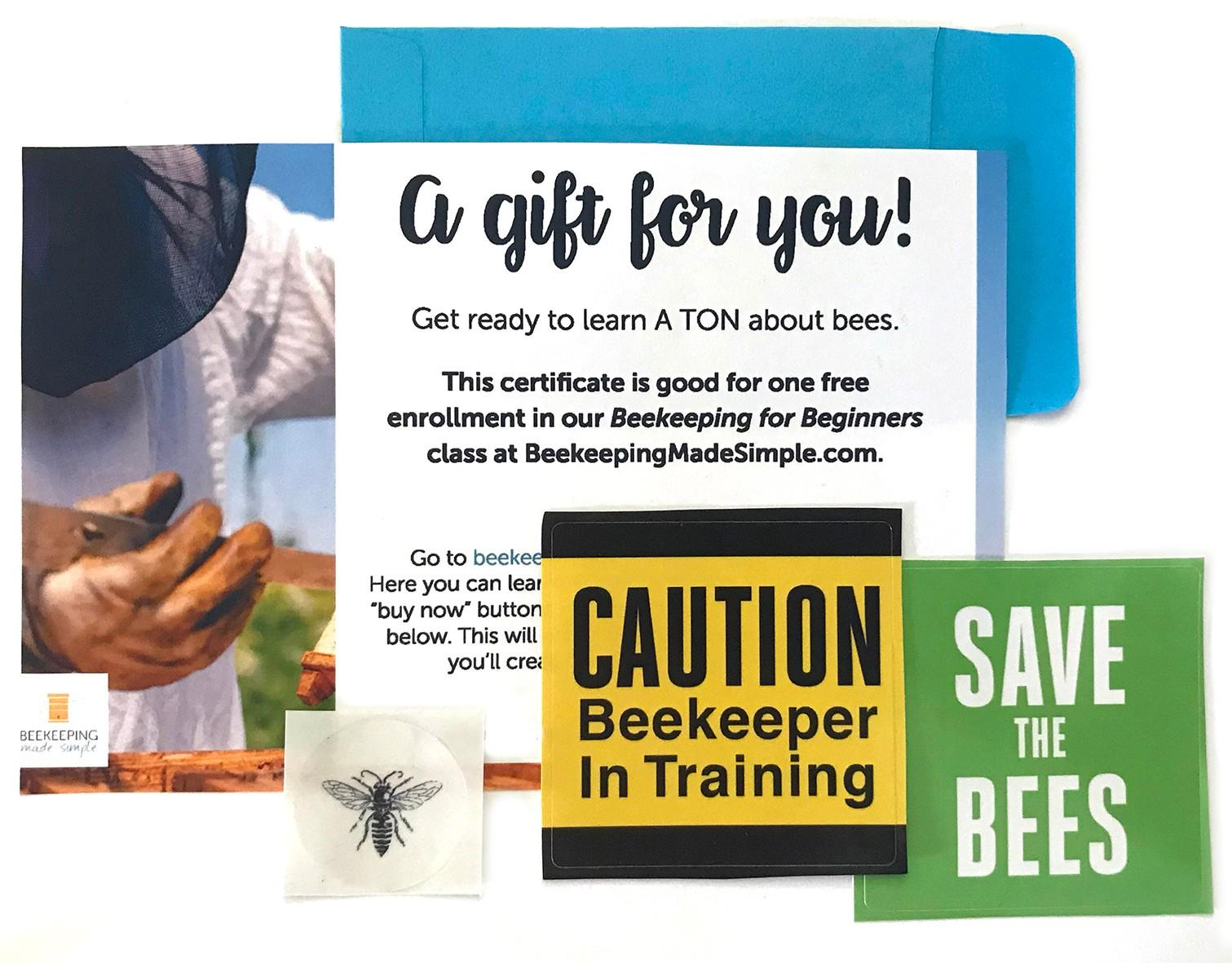 photo of online beekeeping class gift certificate