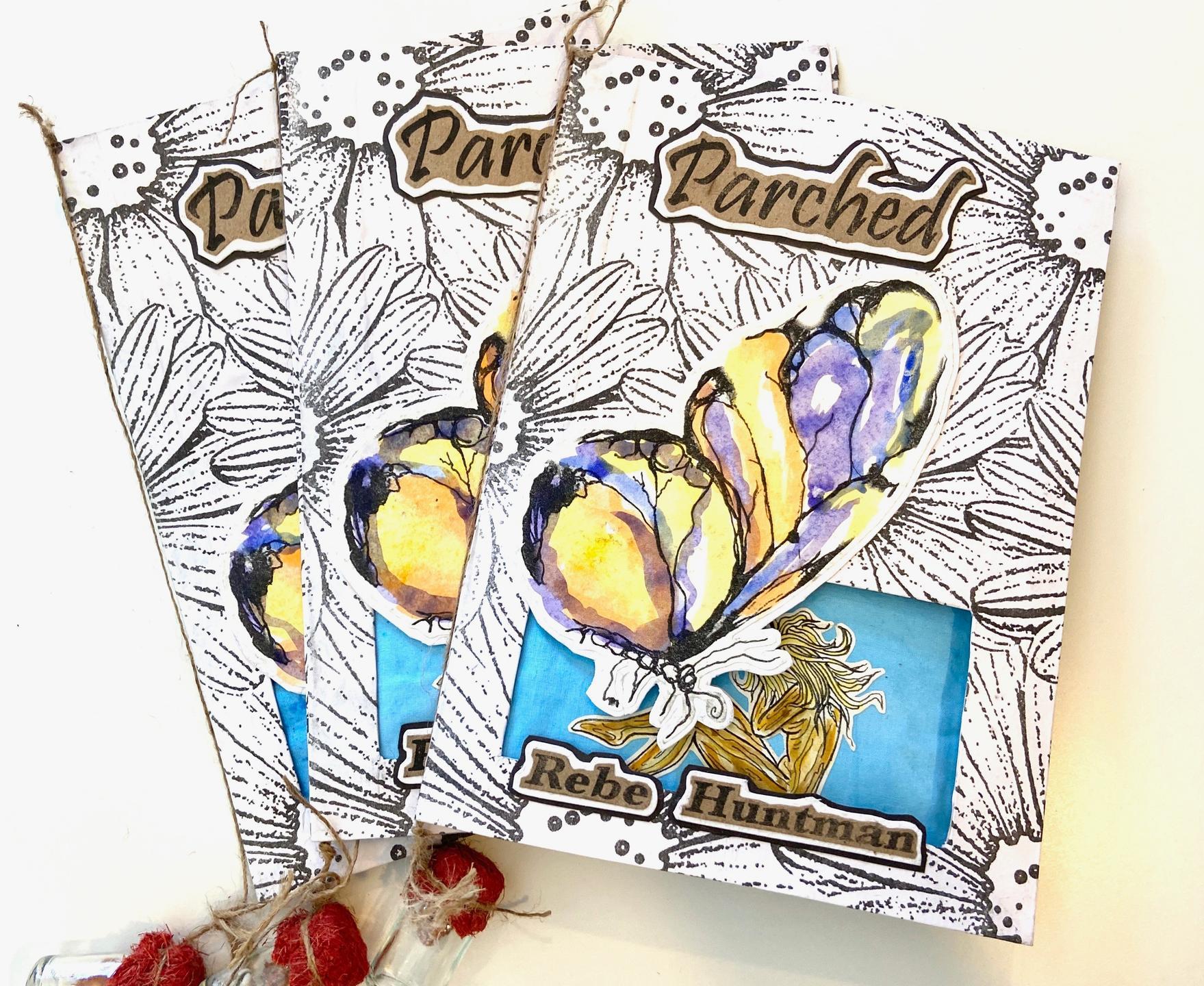 Artist book with Rebe Huntman's poems & lyric essay titled Parched handmade by Matanzas, Cuba's Ediciones Vigía