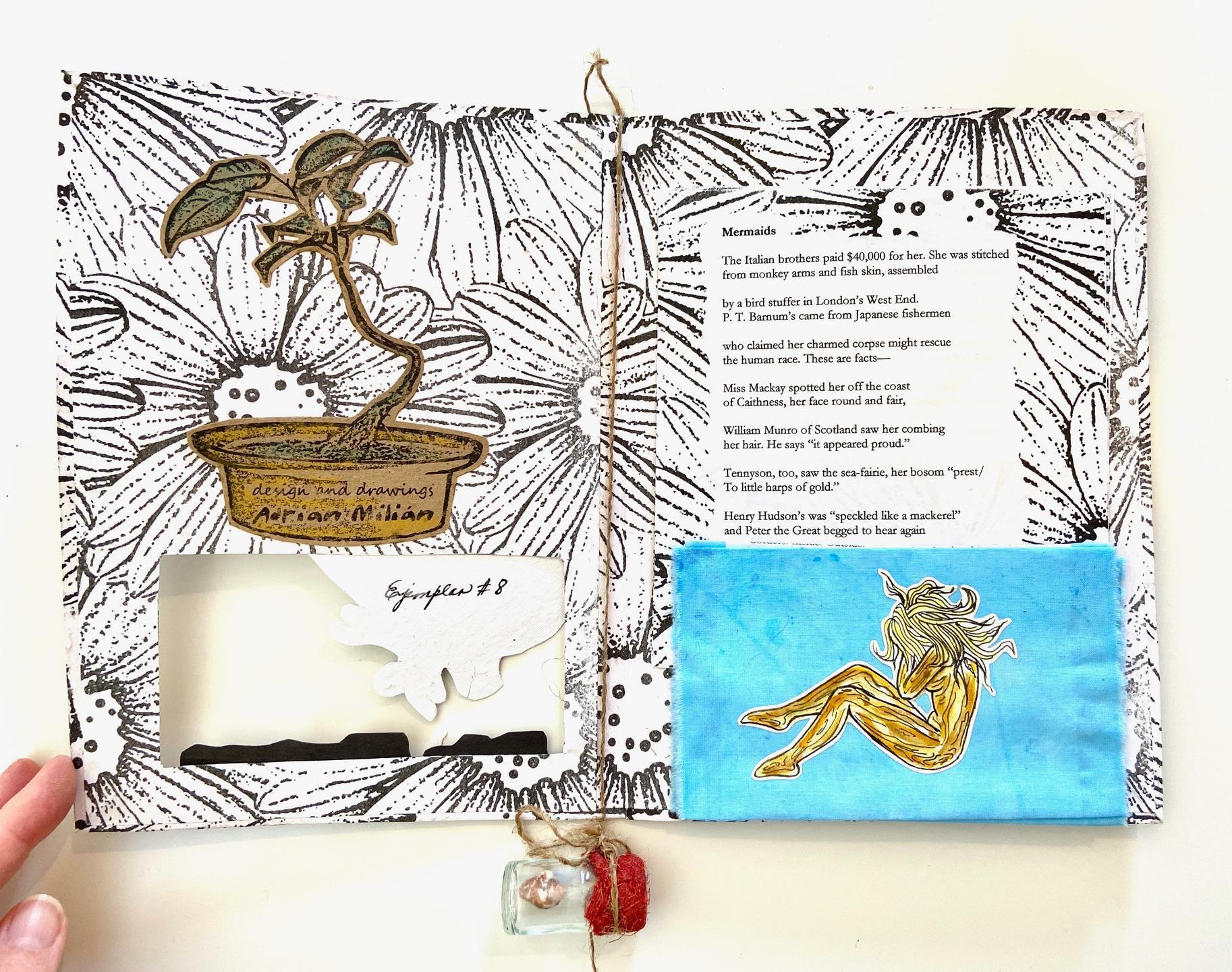 Chapbook handmade by book artists of Matanzas, Cuba's Ediciones Vigía with Rebe Huntman's poem Mermaids