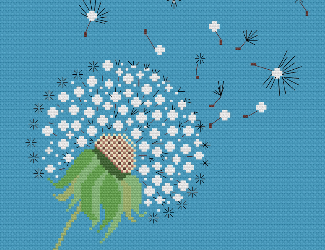 cross-stitch dandelion
