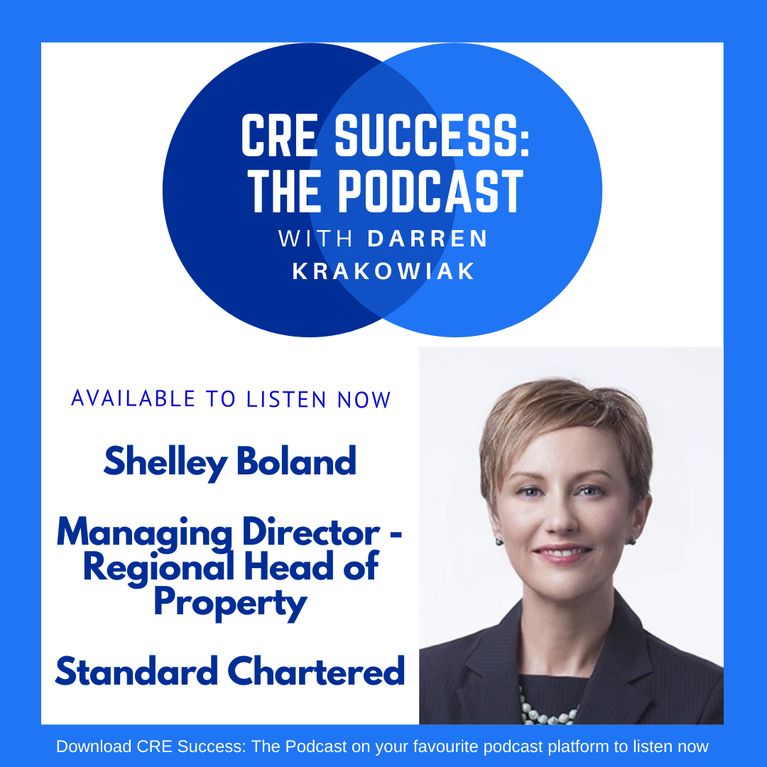 Shelley Boland is a leader Corporate Real Estate professional who is also active in CoreNet in Asia Pacific. She joined Darren Krakowiak on CRE Success: The Podcast in 2020 to discuss how service providers, CRE professionals and end-users in the financial services industry can deliver market-leading property solutions.