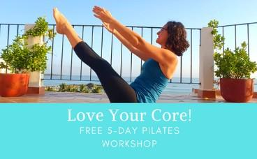 a woman in a Pilates teaser exercise with the ocean behind her. Text says Love Your Core! Free 5-Day Pilates Workshop