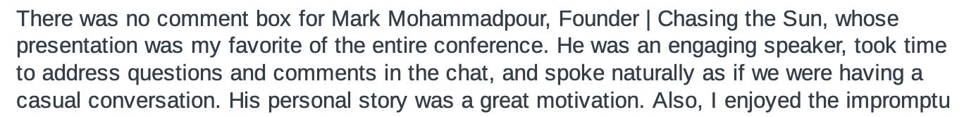 Mark Mohammadpour testimonial