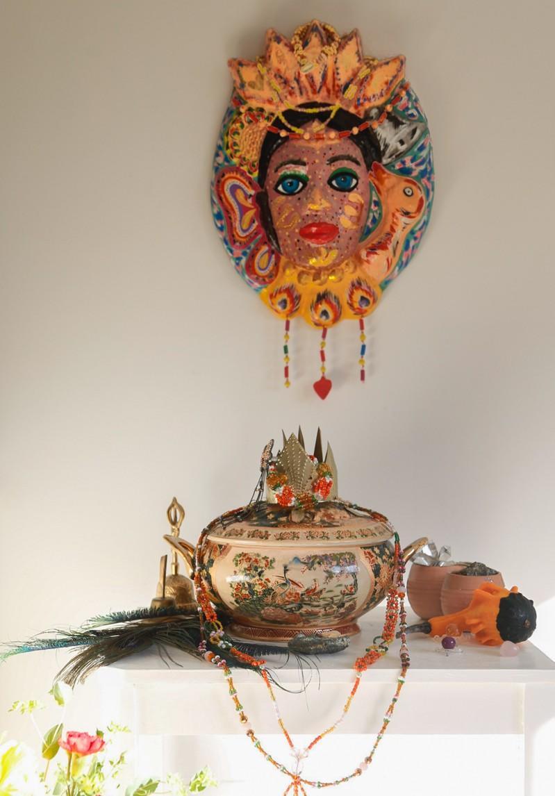 Ochún Ololodí altar with gold mask, sopera, crown, bell, eleke & ilde beads
