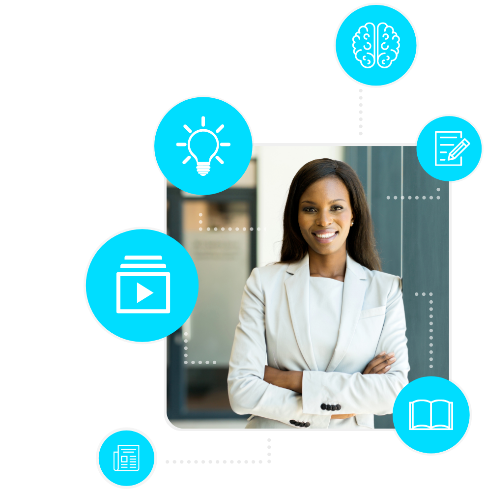 Remote Work Learning Center image with professional and blue learning icons