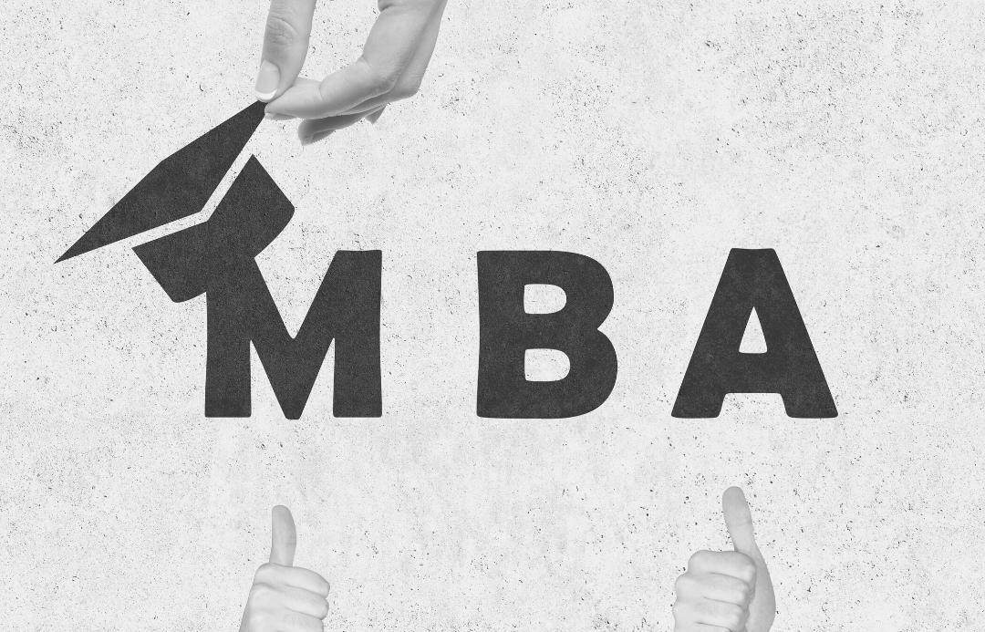 M B A letters with academic cap