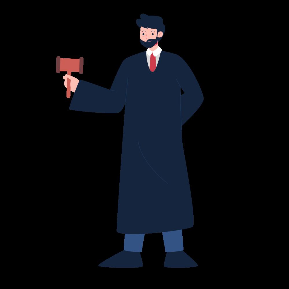 Illustration of a judge holding a gavel