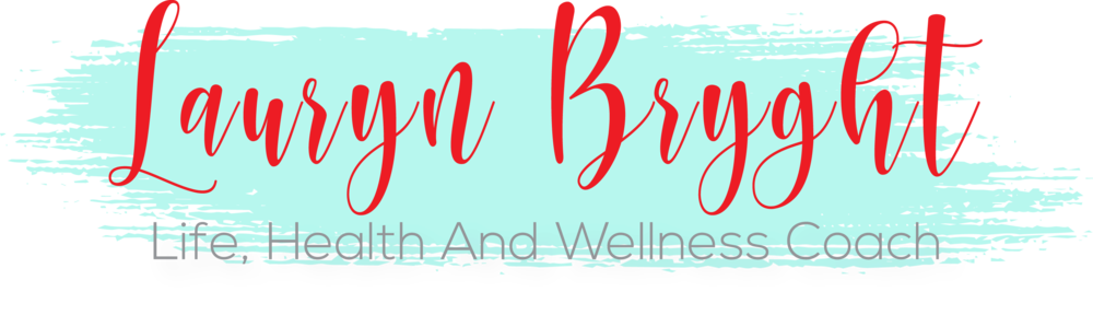 Lauryn Bryght Logo in teal and red