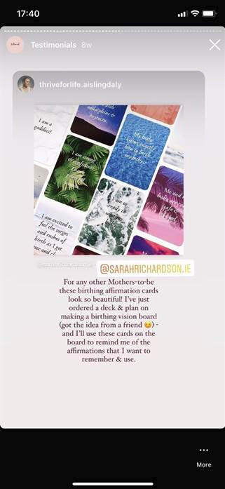 affirmation cards ireland review birthing sarah richardson