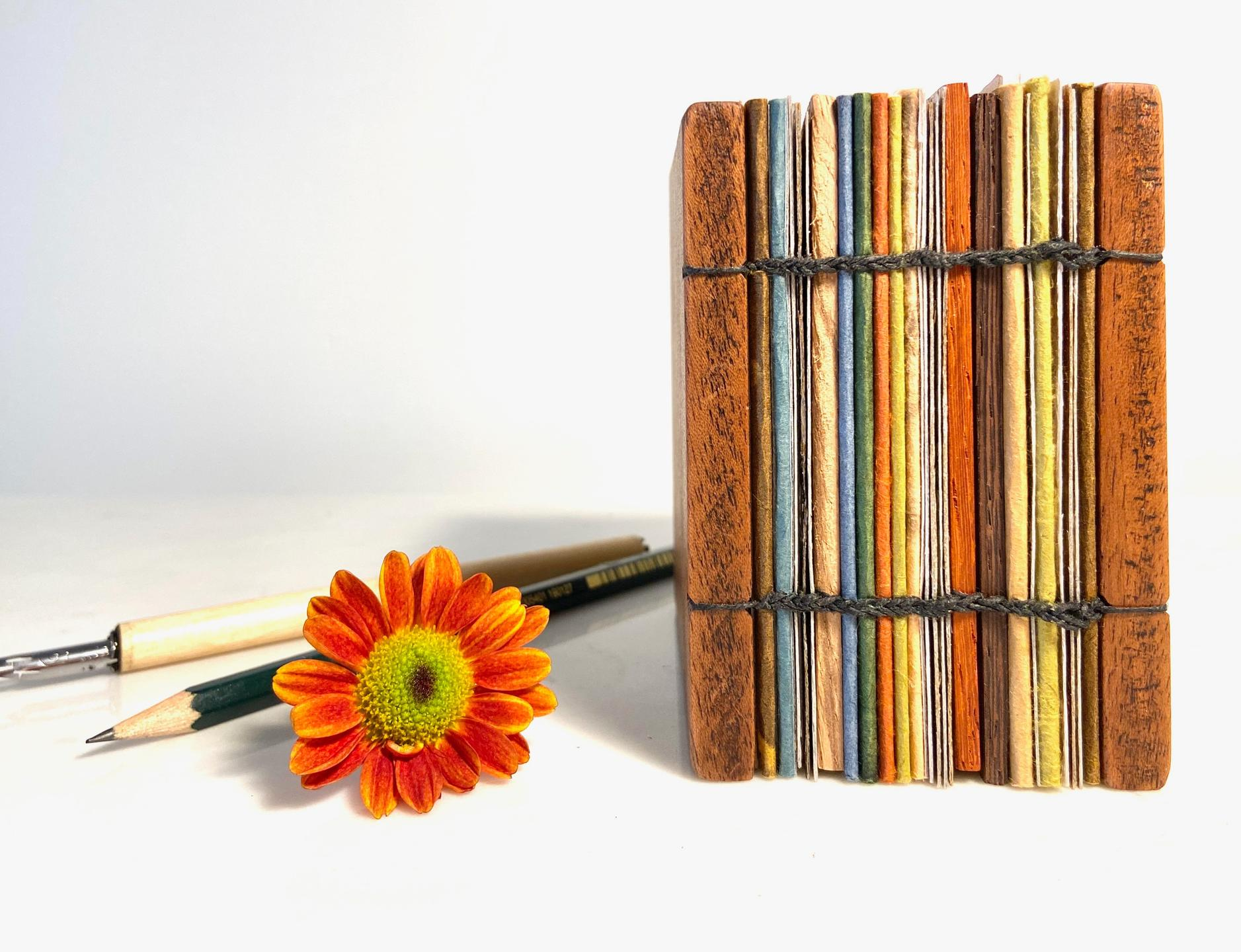 Calligraphy pen, drawing pencil, artist book with coptic binding, & orange zinnia