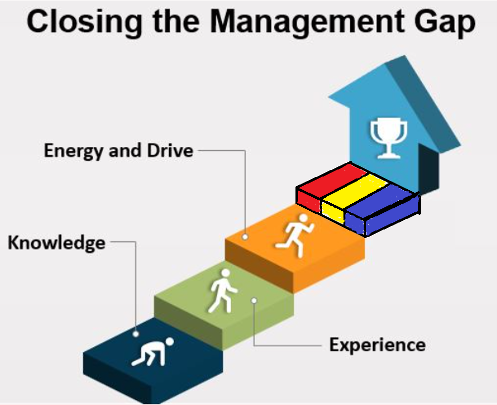 Drawing of managers moving up stairs with a gap between steps and prize