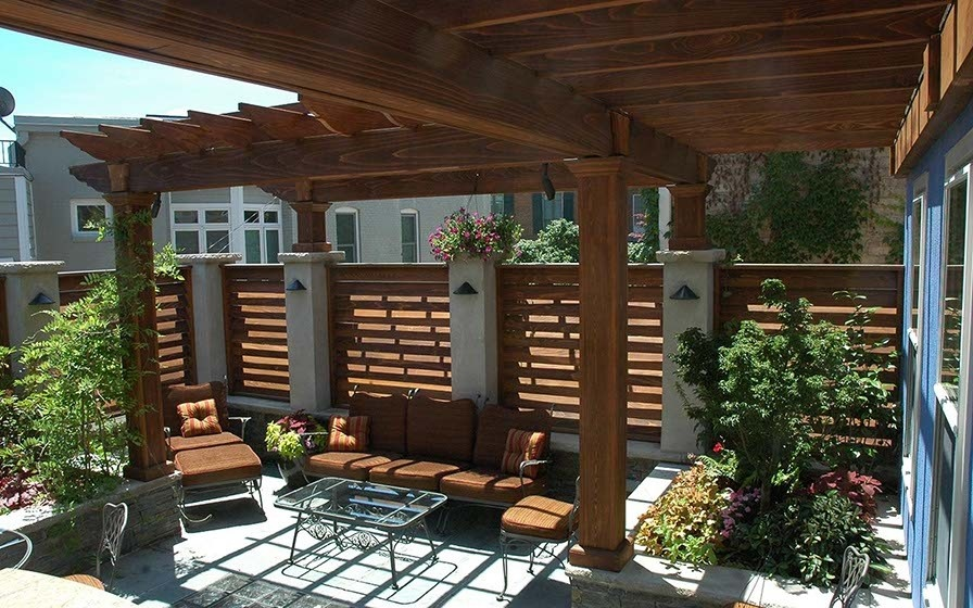 Cedar Pergola with Louvered Wall Panels