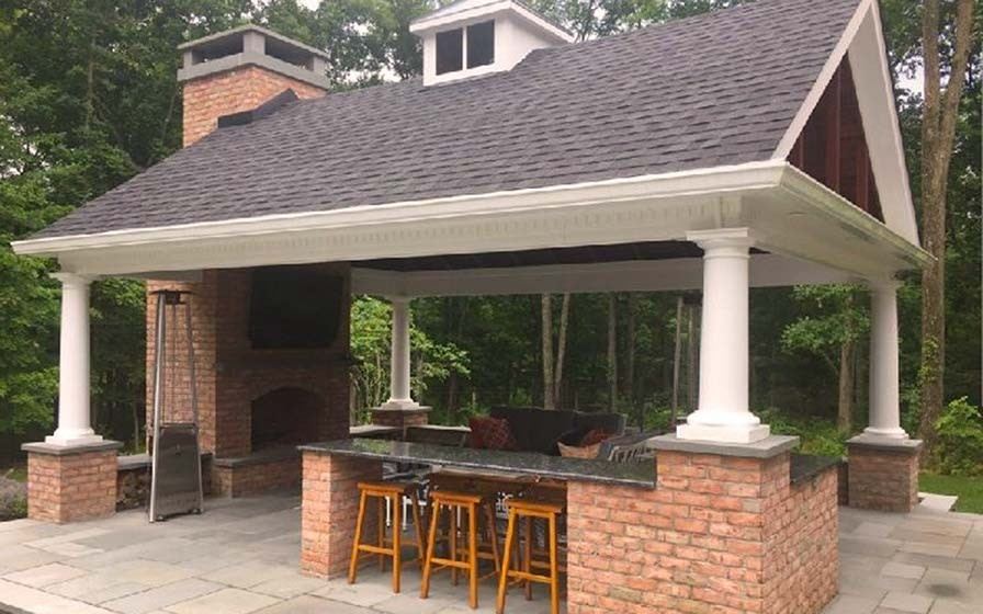 SynCore Pergola with Coffered Trellis Ceiling