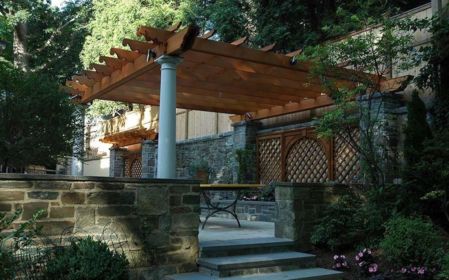 Cedar Pergola with Tuscan Columns & Ipe Trellis