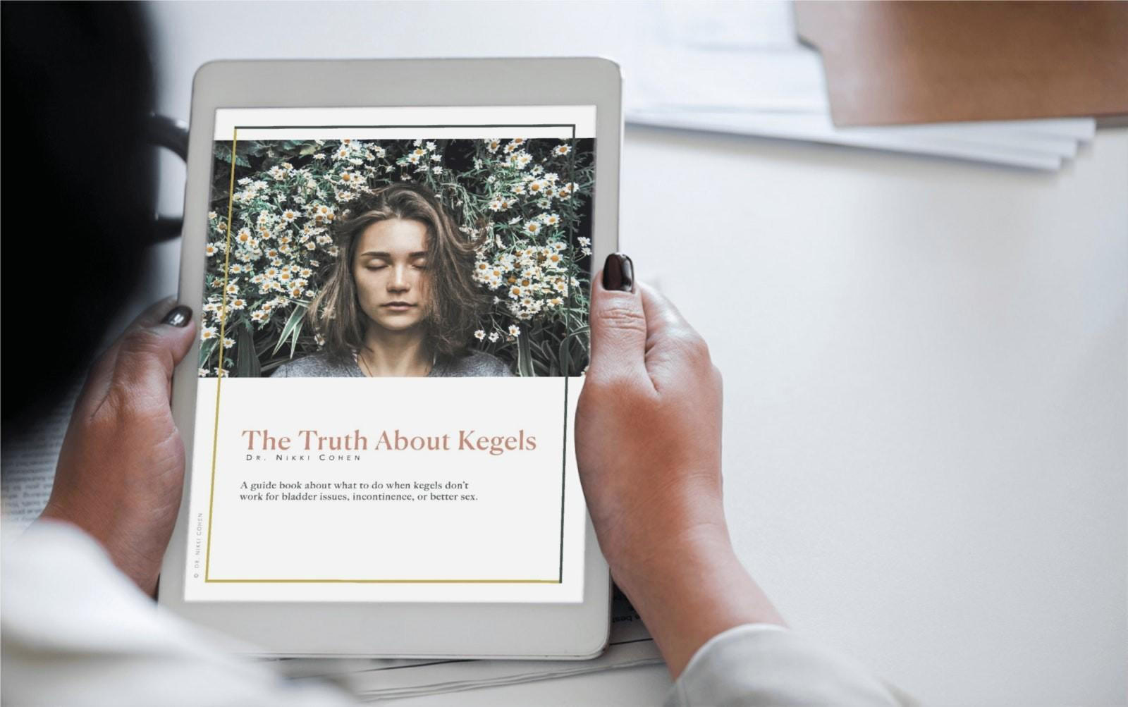 Photo of Woman Reading The Truth About Kegels Guidebook