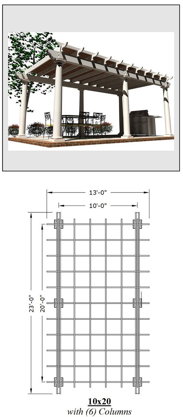 10 x 20 Pergola picture with a plan view