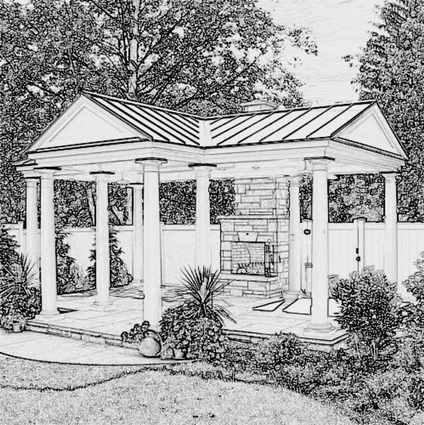 Garden structure sketch - a pavilion with fireplace
