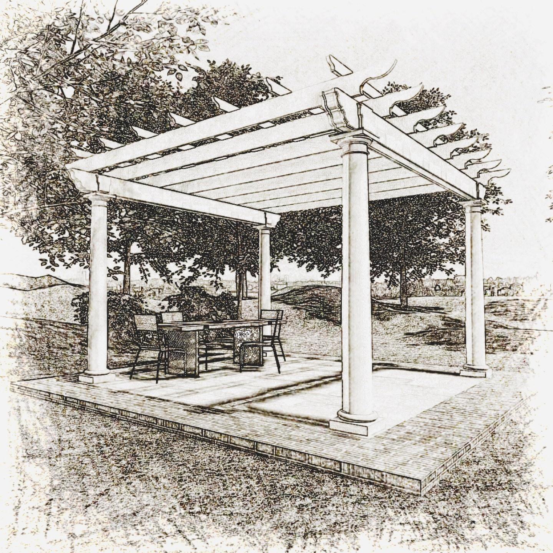 Architectural pergola sketch
