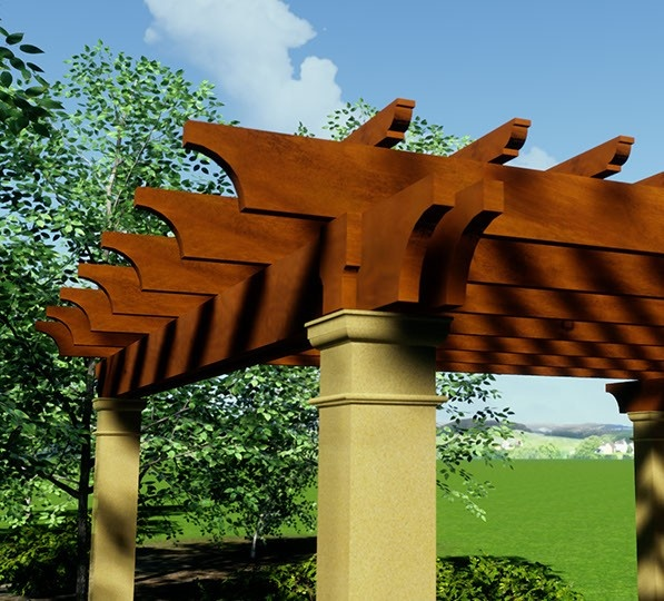 Wood stained pergola with square Tuscan columns with a stucco finish