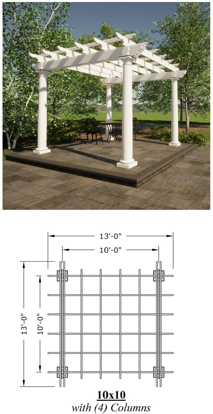 10ft x 10ft Pergola picture with a plan view