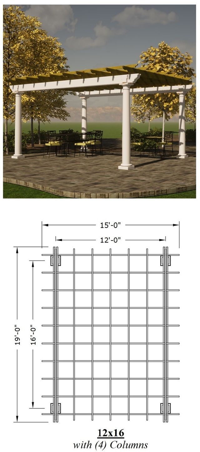 12 x 16 Pergola picture with a plan view