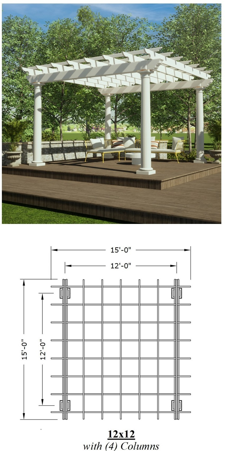 12ft x 12ft Pergola picture with a plan view