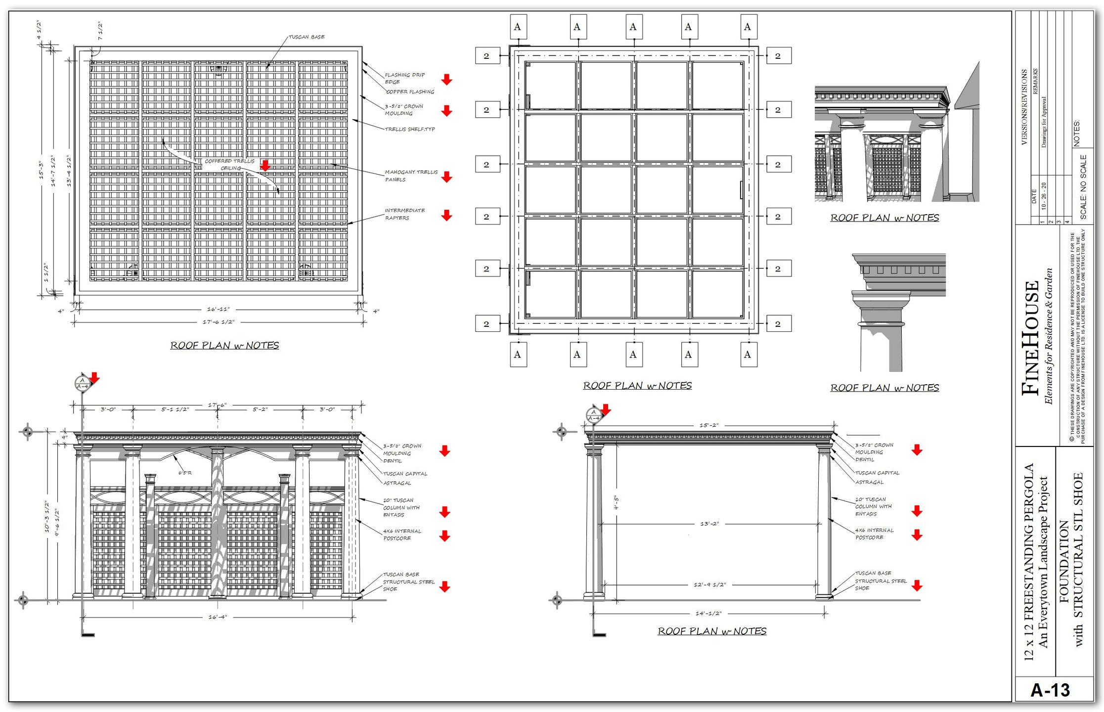 A set of plan for an ornate pool pergola