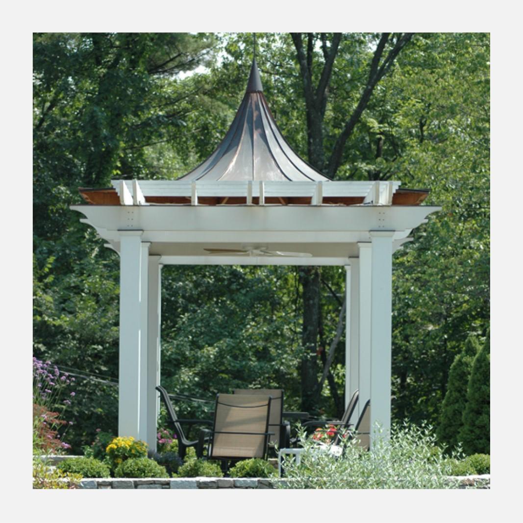 Image of garden pergola pavilion promoting the FineHouse brand