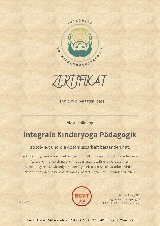 Kinderyoga Ausbildung Zertifikat